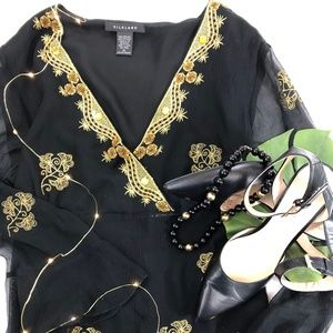 Silkland Gold Embroidered Silk Chiffon Top
